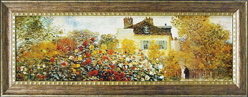 絵画 LLサイズ モネ 「庭園のアーチスト」/インテリア 壁掛け 額入り 油絵 ポスター アート アートパネル リビング 玄関 プレゼント モダン アートフレーム おしゃれ 4Lサイズ