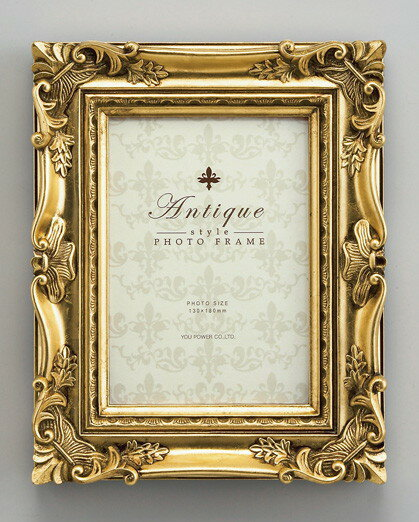 【フォトフレーム】アンティーク スタイル フォトフレーム キャビネ(ゴールド)/インテリア 壁掛け 立てかけ 記念 写真 飾り ギフト プレゼント 出産祝い 結婚祝い 写真立て おしゃれ かわいい【S】