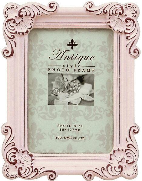 【フォトフレーム】アンティークスタイル フォトフレーム スクエア・サービス (アンティークピンク)/インテリア 壁掛け 立てかけ 記念 写真 飾り ギフト プレゼント 出産祝い 結婚祝い 写真立て おしゃれ かわいい【S】