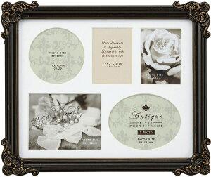 フォトフレーム アンティークスタイル フォトフレーム スクエア・5ウィンドー (アンティークブラック)/インテリア 壁掛け 立てかけ 記念 写真 飾り ギフト プレゼント 出産祝い 結婚祝い 写