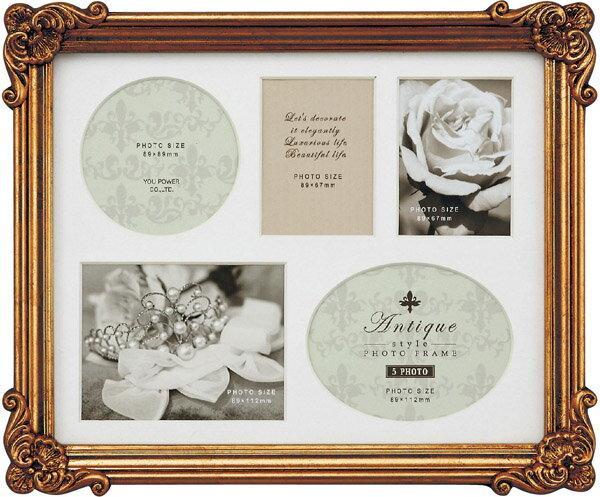 【フォトフレーム】アンティークスタイル フォトフレーム スクエア・5ウィンドー (アンティークゴールド)/インテリア 壁掛け 立てかけ 記念 写真 飾り ギフト プレゼント 出産祝い 結婚祝い 写真立て おしゃれ かわいい Sサイズ