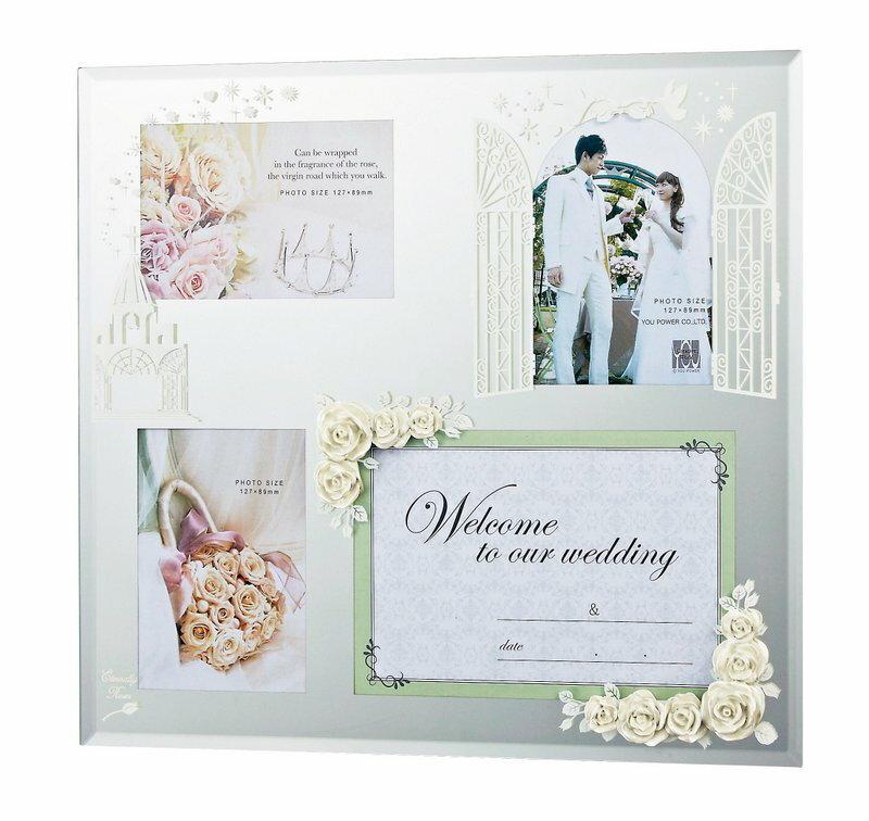 【フォトフレーム】エターナリーローズ フォトフレーム 4ウィンドー (ホワイト)/インテリア 壁掛け 立てかけ 記念 写真 飾り ギフト プレゼント 出産祝い 結婚祝い 写真立て おしゃれ かわいい【M】