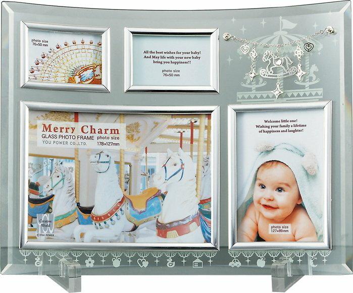【フォトフレーム】メリー チャーム ガラス フォトフレーム 4ウィンドー/インテリア 壁掛け 立てかけ 記念 写真 飾り ギフト プレゼント 出産祝い 結婚祝い 写真立て おしゃれ かわいい【M】