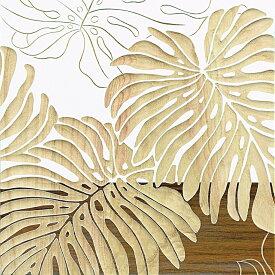 木彫りアート ウッド スカルプチャー アート「ワイルド モンステラS(WH+NP)」/インテリア 壁掛け 額入り 額装込 風景画 油絵 ポスター アート アートパネル リビング 玄関 プレゼント 花 Lサイズ 巣ごもり