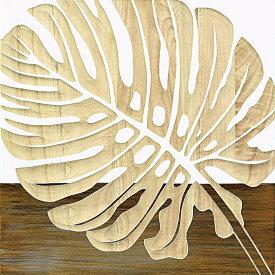 木彫りアート ウッド スカルプチャー アート「シングル モンステラ2(WH+NP)」/インテリア 壁掛け 額入り 額装込 風景画 油絵 ポスター アート アートパネル リビング 玄関 プレゼント 花 Lサイズ 巣ごもり