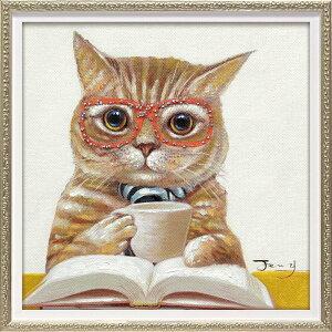 絵画 オイル ペイント アート「カフェ キャット(Sサイズ)」/インテリア 猫 壁掛け 額入り 油絵 ポスター アート アートパネル リビング 玄関 プレゼント モダン アートフレーム おしゃれ