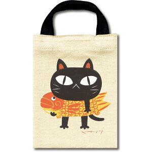 バッグ 糸井忠晴 コットン ミニバッグ「夢ねこ」 ゆうパケット 猫 ギフト かわいい イラスト 小さめ かばん プレゼント マグネットフック おでかけ 手提げ アニマル 動物 布製 贈り物 財布だ