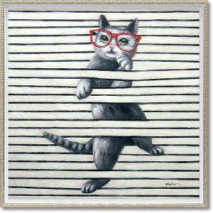 絵画 オイル ペイント アート「キャット プレイ(Mサイズ)」 油絵 インテリア プレゼント ギフト 壁掛け 手描き 額入り 額装込 ポスター アート モダン リビング 玄関 アートフレーム おし