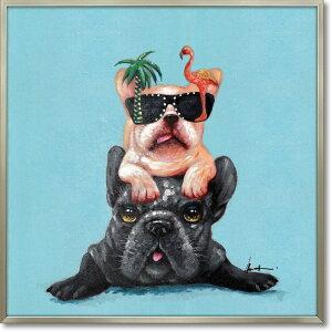 絵画 オイル ペイント アート「ドッグ オン ドッグ」 油絵 インテリア リビング プレゼント 壁掛け 犬 手描き 額入り 額装込 ポスター アート モダン 玄関 アートフレーム おしゃれ かわいい