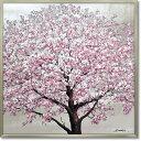 絵画 オイル ペイント アート「シルバー サクラ」 桜 油絵 インテリア 壁掛け 額入り 額装込 風景画 手描き リビング …