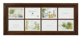 メモリーズ 木製フォトフレーム 8ウインドー・ブラウン/インテリア 壁掛け 額入り 額装込 風景画 油絵 ポスター アート アートパネル リビング 玄関 プレゼント モダン アートフレーム おしゃれ 飾る Lサイズ