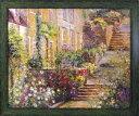 絵画 ロンゴ パティオ ガーデン1/インテリア 壁掛け 額入り 額装込 風景画 油絵 ポスター アート アートパネル リビン…