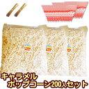 [完成品]キャラメルポップコーン 200人セット 専用袋付 【キャラメル[約100L]6kg(2kg×3) 三角袋(赤)モールタイ2…