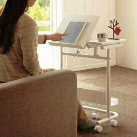 ソファ サイドテーブル ワーク パソコン テーブル ホワイト おしゃれ キャスター 付き 天板可動 ベッド サイド ナイト テーブル 2SD-PC53H 送料無料 電子書籍も見やすいワゴン キャッシュレス 5% 消費者 還元