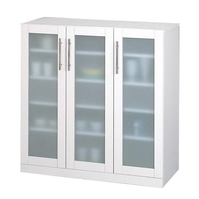 クロシオ カトレア ミストガラス仕様ガラス 食器棚 90-90 23464