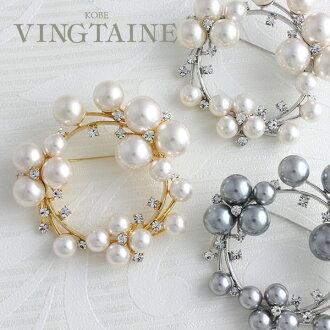 珍珠胸針 x / 輪 / 萊茵石圓母親的一天禮物 BR 61