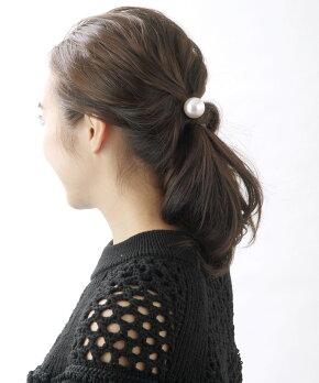 一粒パールヘアゴムヘアカフ(M)大粒ヘアフック挿すだけまとめ髪簡単アレンジシンプルエレガントオフィスデイリー結婚式ヘアアクセヘアアクセサリーH-670【楽天BOX受取対象商品】