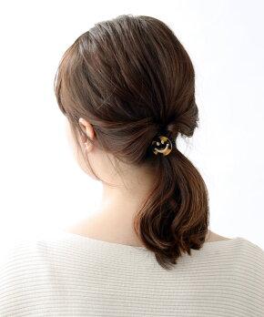 べっ甲風スマイルモチーフヘアゴムヘアカフポニーフックヘアフックブラウンアイボリーマット挿すだけまとめ髪簡単アレンジシンプルヘアアクセヘアアクセサリーH7212