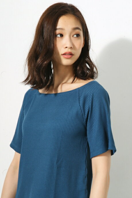 【AZUL BY MOUSSY】Aラインリブカット半袖プルオーバー AZUL BY MOUSSY/アズール バイ マウジー/レディース/トップス カットソー/プルオーバー【MARKDOWN】