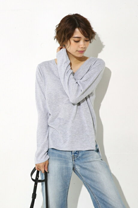 【AZUL BY MOUSSY】CRウォッシャブルVネック長袖プルオーバー AZUL BY MOUSSY/アズール バイ マウジー/レディース/トップス ニット【MARKDOWN】