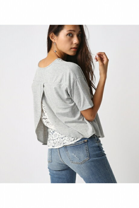 【AZUL BY MOUSSY】バックレース切替半袖プルオーバー AZUL BY MOUSSY/アズール バイ マウジー/レディース/トップス カットソー/プルオーバー【MARKDOWN】