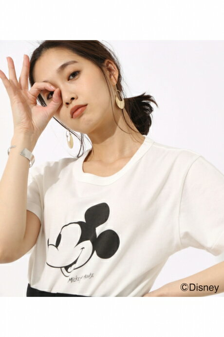【AZUL BY MOUSSY】Mickey Mouse TEE【MOOK46掲載 94025】 AZUL BY MOUSSY/アズール バイ マウジー/レディース/トップス カットソー/プルオーバー【MARKDOWN】