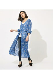 【AZUL BY MOUSSY】FLOWER SHIFFON GOWN 【MOOK49掲載 90042】 AZUL BY MOUSSY/アズール バイ マウジー/レディース/アウター ガウン【MARKDOWN】