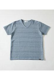 ボーダージャガードVネックTシャツ AZUL BY MOUSSY/アズール バイ マウジー/メンズ/トップス カットソー【MARKDOWN】