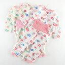 ≪メール便OK≫ 女の子 腹巻付ソフトキルト暖かパジャマ 中綿 綿100% ピンク クリーム 80 90 95 練習釦 ハラマキ 総柄…
