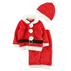 MFフリースサンタクローススーツ マイクロファイバーフリース 80 90 95 暖か素材 なりきり キグルミ きぐるみ クリスマス パーティー 上下スーツ