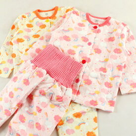 【メール便OK】ソフトキルト腹巻付パジャマ 暖かパジャマ 中綿 綿100% 80 90 95 練習釦 腹巻パンツ ベビー キッズ 女の子