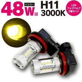 爆光 ホンダ フィット ハイブリッド(マイナー後) H24.5〜H25.8 GP1 RS含む LEDバルブ フォグバルブ H11 48w級 イエローバルブ 【2個入り1セット】【送料無料】