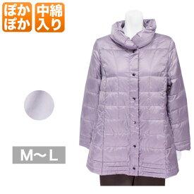 ロングジャケット レディース 秋冬用 長袖 中綿入り ピンクパープル ML