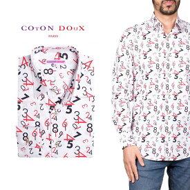 柄シャツ カジュアルシャツ メンズ 長袖 柄シャツ きれいめ 総柄シャツ 派手 オシャレ かわいい アート プリント フランス イタリア レトロ Coton Doux コトンドゥ m91ad1603numbers