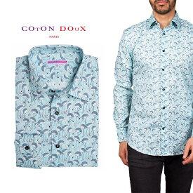 柄シャツ カジュアルシャツ メンズ 長袖 柄シャツ きれいめ 総柄シャツ 派手 オシャレ かわいい アート プリント フランス イタリア レトロ Coton Doux コトンドゥ m91ad1605flamingo2