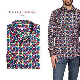 柄シャツ カジュアルシャツ メンズ 長袖 柄シャツ きれいめ 総柄シャツ 派手 オシャレ かわいい アート プリント フランス イタリア レトロ Coton Doux コトンドゥ m91ad1606tribalpat