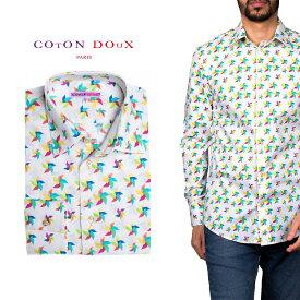 柄シャツ カジュアルシャツ メンズ 長袖 柄シャツ きれいめ 総柄シャツ 派手 オシャレ かわいい アート プリント フランス イタリア レトロ Coton Doux コトンドゥ m91ad1613windmill