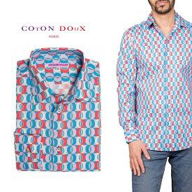 柄シャツ カジュアルシャツ メンズ 長袖 柄シャツ きれいめ 総柄シャツ 派手 オシャレ かわいい アート プリント フランス イタリア レトロ Coton Doux コトンドゥ m91ad1620roundgeo