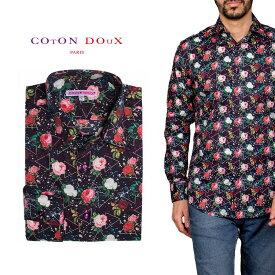 柄シャツ カジュアルシャツ メンズ 長袖 柄シャツ きれいめ 総柄シャツ 派手 オシャレ かわいい アート プリント フランス イタリア レトロ Coton Doux コトンドゥ m91ad1621roselover
