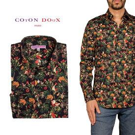 柄シャツ カジュアルシャツ メンズ 長袖 柄シャツ きれいめ 総柄シャツ 派手 オシャレ かわいい アート プリント フランス イタリア レトロ Coton Doux コトンドゥ m91ad1629flowers