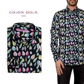 柄シャツ カジュアルシャツ メンズ 長袖 柄シャツ きれいめ 総柄シャツ 派手 オシャレ かわいい アート プリント フランス イタリア レトロ Coton Doux コトンドゥ m91ad1630colorleaves