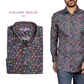 柄シャツ カジュアルシャツ メンズ 長袖 柄シャツ きれいめ 総柄シャツ 派手 オシャレ かわいい アート プリント フランス イタリア レトロ Coton Doux コトンドゥ m91ad1633flowershape