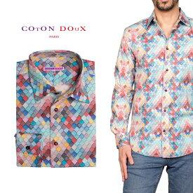 柄シャツ カジュアルシャツ メンズ 長袖 柄シャツ きれいめ 総柄シャツ 派手 オシャレ かわいい アート プリント フランス イタリア レトロ Coton Doux コトンドゥ m91ad1641roofing
