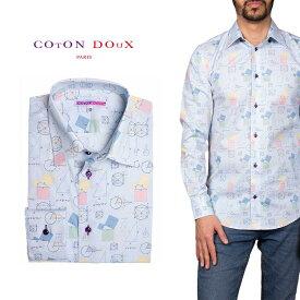 柄シャツ カジュアルシャツ メンズ 長袖 柄シャツ きれいめ 総柄シャツ 派手 オシャレ かわいい アート プリント フランス イタリア レトロ Coton Doux コトンドゥ m91ad1643figuremath
