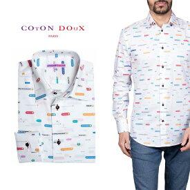 柄シャツ カジュアルシャツ メンズ 長袖 柄シャツ きれいめ 総柄シャツ 派手 オシャレ かわいい アート プリント フランス イタリア レトロ Coton Doux コトンドゥ m91ad1650postmsg