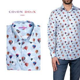 柄シャツ カジュアルシャツ メンズ 長袖 柄シャツ きれいめ 総柄シャツ 派手 オシャレ かわいい アート プリント フランス イタリア レトロ Coton Doux コトンドゥ m91ad1651balloons