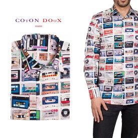 柄シャツ カジュアルシャツ メンズ 長袖 柄シャツ きれいめ 総柄シャツ 派手 オシャレ かわいい アート プリント フランス イタリア レトロ Coton Doux コトンドゥ m91ad1667cassette