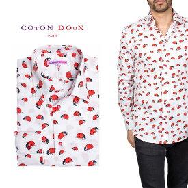 柄シャツ カジュアルシャツ メンズ 長袖 柄シャツ きれいめ 総柄シャツ 派手 オシャレ かわいい アート プリント フランス イタリア レトロ Coton Doux コトンドゥ m91ad1669ladybug