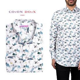 柄シャツ カジュアルシャツ メンズ 長袖 柄シャツ きれいめ 総柄シャツ 派手 オシャレ かわいい アート プリント フランス イタリア レトロ Coton Doux コトンドゥ m91ad1681dragonfly