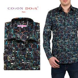 メンズ 長袖 柄シャツ ブランド カメラ モダン ブラック系 オフィス デザインシャツ 30代 40代 50代 大人 セレブファッション CotonDoux コトンドゥ m01ad1819camera
